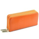 Women Long Wallet Genuine Leather Double Zipper Serpentine Embossing Clutch Bag Coin Purse Card Holder with Wristlet Strap (Orange)