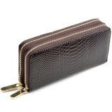 Women Long Wallet Genuine Leather Double Zipper Serpentine Embossing Clutch Bag Coin Purse Card Holder with Wristlet Strap (Coffee)