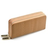 Women Long Wallet Genuine Leather Double Zipper Serpentine Embossing Clutch Bag Coin Purse Card Holder with Wristlet Strap (Apricot)