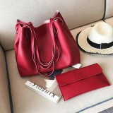 2 in 1 Soft Leather Women Bag Set Luxury Fashion Design Shoulder Bags Big Casual Bags Handbag (Wine red)