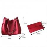2 in 1 Soft Leather Women Bag Set Luxury Fashion Design Shoulder Bags Big Casual Bags Handbag (Wine red)