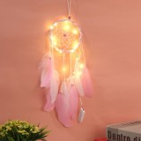 Creative Weaving Crafts Car Ornaments Hollow Wind Chimes Dreamcatcher Wall Hanging Decoration, Type: Light (Pink)
