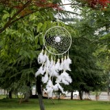 Creative Weaving Crafts Car Ornaments Dreamcatcher Wall Hanging Jewelry (White)