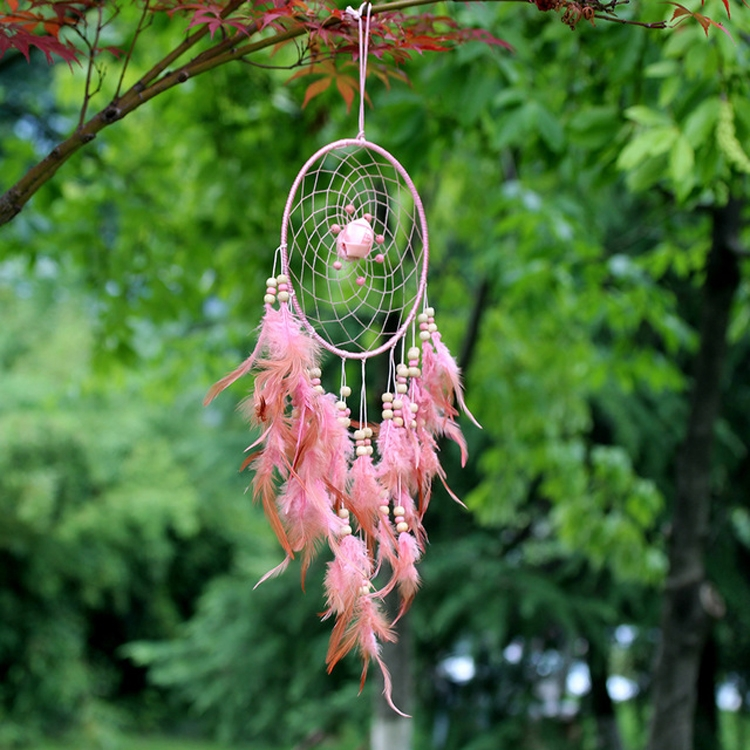 Creative Weaving Crafts Car Ornaments Dreamcatcher Wall Hanging Jewelry (Pink)