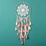 Creative Weaving Crafts Car Ornaments Gradual Tassel Wind Chime Dreamcatcher Wall Hanging Decoration, Color: Light Pink