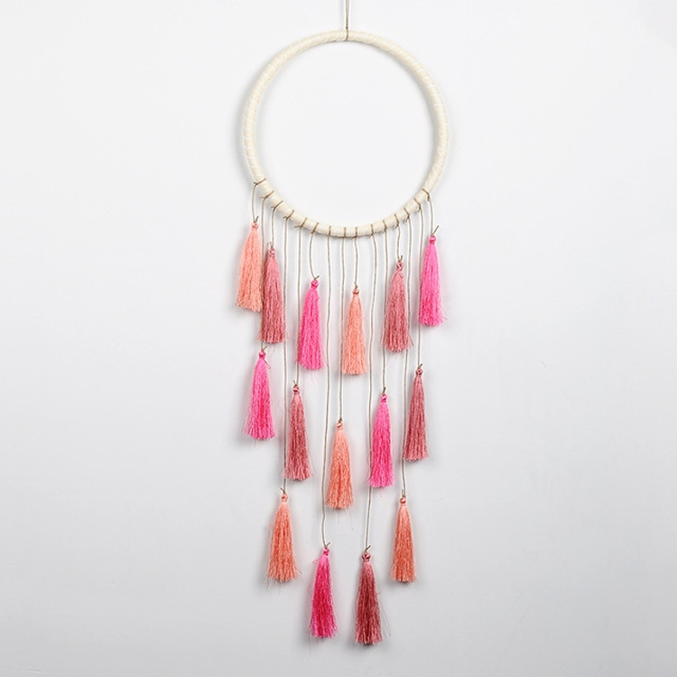 Creative Weaving Crafts Car Ornaments Gradual Tassel Wind Chime Dreamcatcher Wall Hanging Decoration, Color: Pink