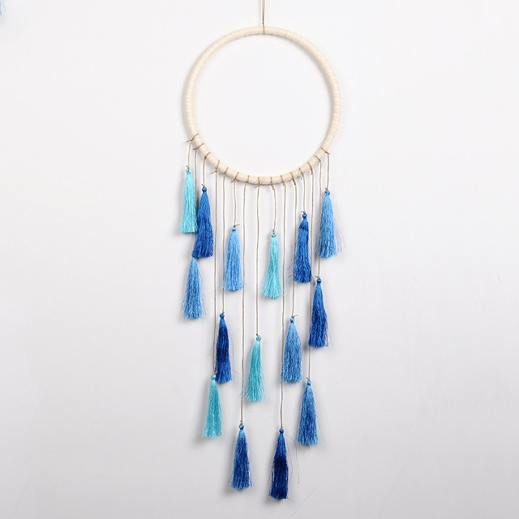 Creative Weaving Crafts Car Ornaments Gradual Tassel Wind Chime Dreamcatcher Wall Hanging Decoration, Color: Blue