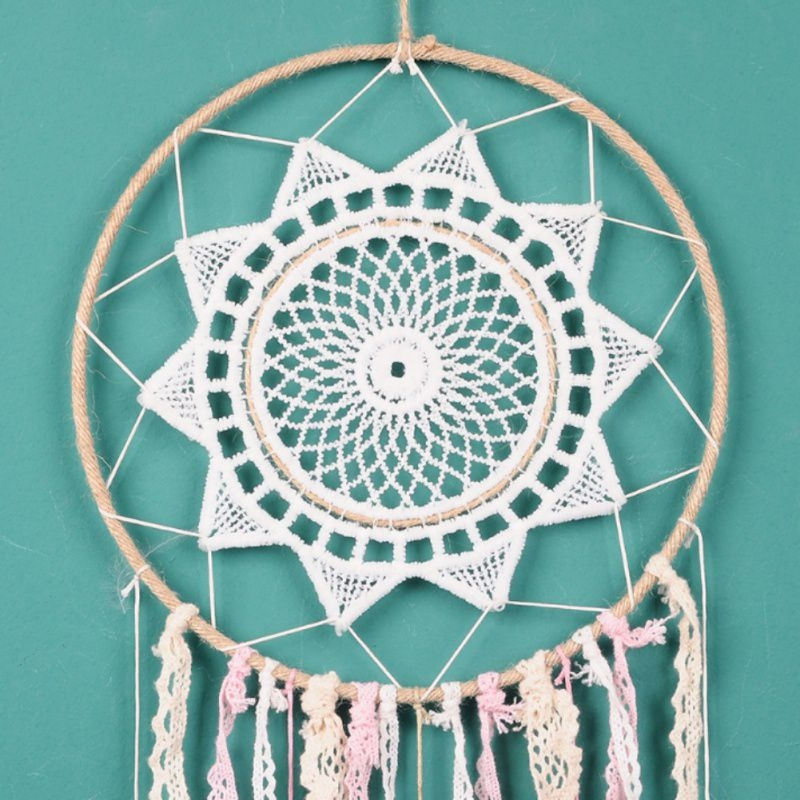 Creative Weaving Crafts Car Ornaments Gradual Tassel Wind Chime Dreamcatcher Wall Hanging Decoration, Color: White
