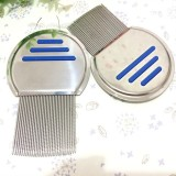 Pet Comb Dog Flea Cleaning Comb Stainless Steel Threaded Needle Comb Removal Beauty Products (Blue)