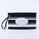 Baby Wipes Portable Removable Bag EVA Flip Sanitary Wipes Bag (Black And Gray Stripes)