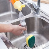 Kitchen plastic long handle cleaning brush automatic liquid adding brush washing brush removable replacement sponge decontamination brush (With 1PCS head)