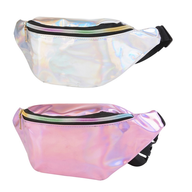 Multi-function Punk Bag Laser Shoulder Bag Women Waist Bag (Silver)