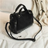Women Top-handle Bags with Rivets Leather Shoulder Bag Large Capacity Vintage Tote Bags (Black)