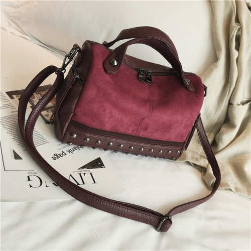 Women Top-handle Bags with Rivets Leather Shoulder Bag Large Capacity Vintage Tote Bags (Wine Red)