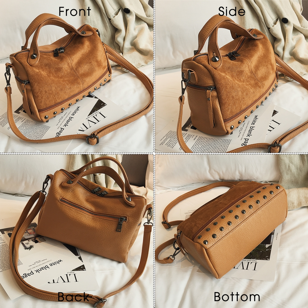 Women Top-handle Bags with Rivets Leather Shoulder Bag Large Capacity Vintage Tote Bags (Brown)