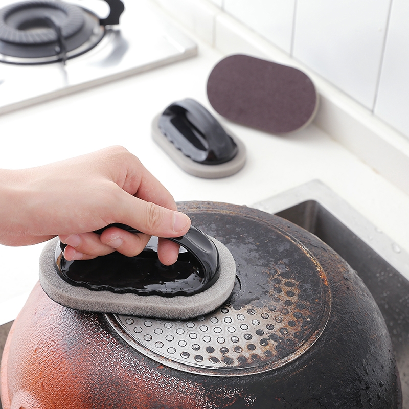 Floor Strong Decontamination Sponge Cleaning Brush For Pot Handles (Black)