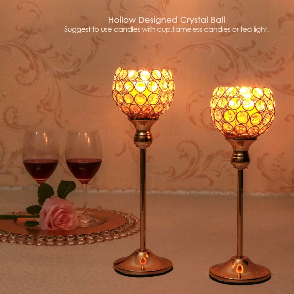 Creative Single Head Gold Crystal Candlestick Decoration Hotel Decoration Candle Holder Creative Crafts, Size: 28cm