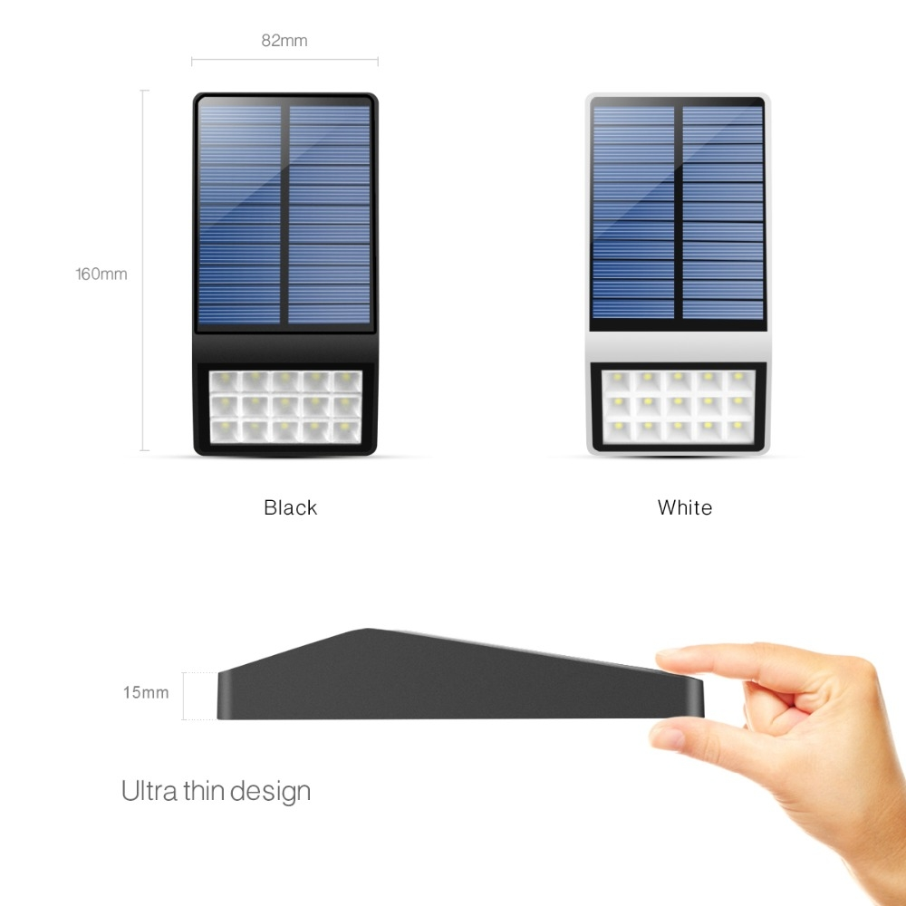 15 LEDs Light Control Outdoor IP65 Waterproof Solar Powered Garden LED Wall Lamp (White)