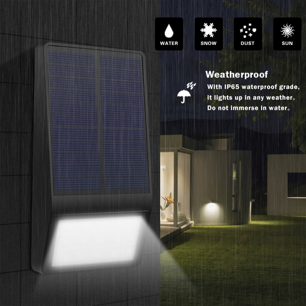 15 LEDs Light Control Outdoor IP65 Waterproof Solar Powered Garden LED Wall Lamp (Black)