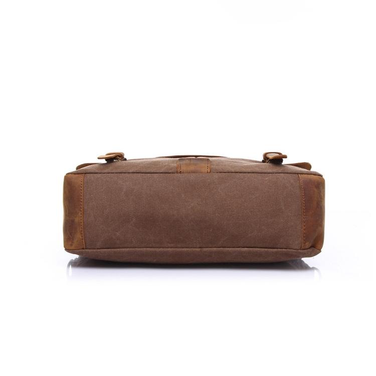 Vintage Handbag Genuine Leather Shoulder Bag Messenger Laptop Briefcase (Black)