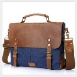 Vintage Handbag Genuine Leather Shoulder Bag Messenger Laptop Briefcase (Blue)