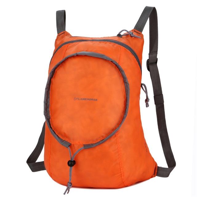 Nylon Waterproof Collapsible Backpack Women Men Travel Portable Comfort Lightweight Storage Folding Bag (Orange)