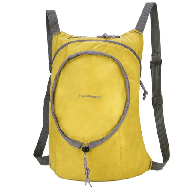 Nylon Waterproof Collapsible Backpack Women Men Travel Portable Comfort Lightweight Storage Folding Bag (Yellow)