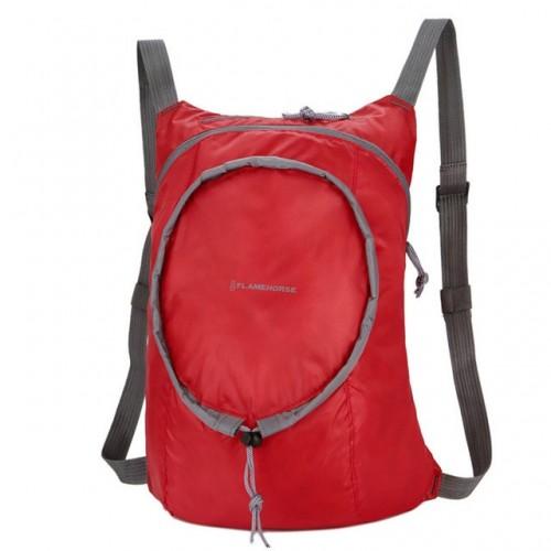 Nylon Waterproof Collapsible Backpack Women Men Travel Portable Comfort Lightweight Storage Folding Bag (Red)