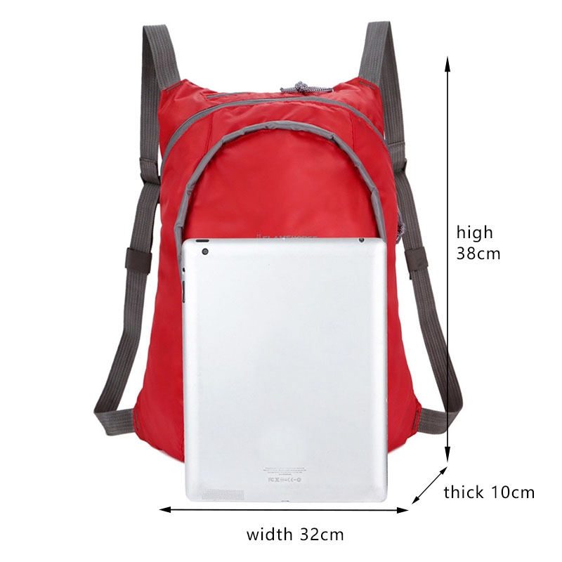 Nylon Waterproof Collapsible Backpack Women Men Travel Portable Comfort Lightweight Storage Folding Bag (Red)
