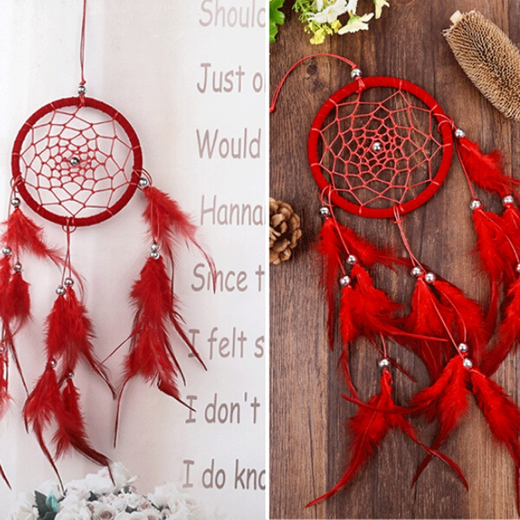 Creative Weaving Crafts Car Ornaments Dreamcatcher Wall Hanging Jewelry (Red)