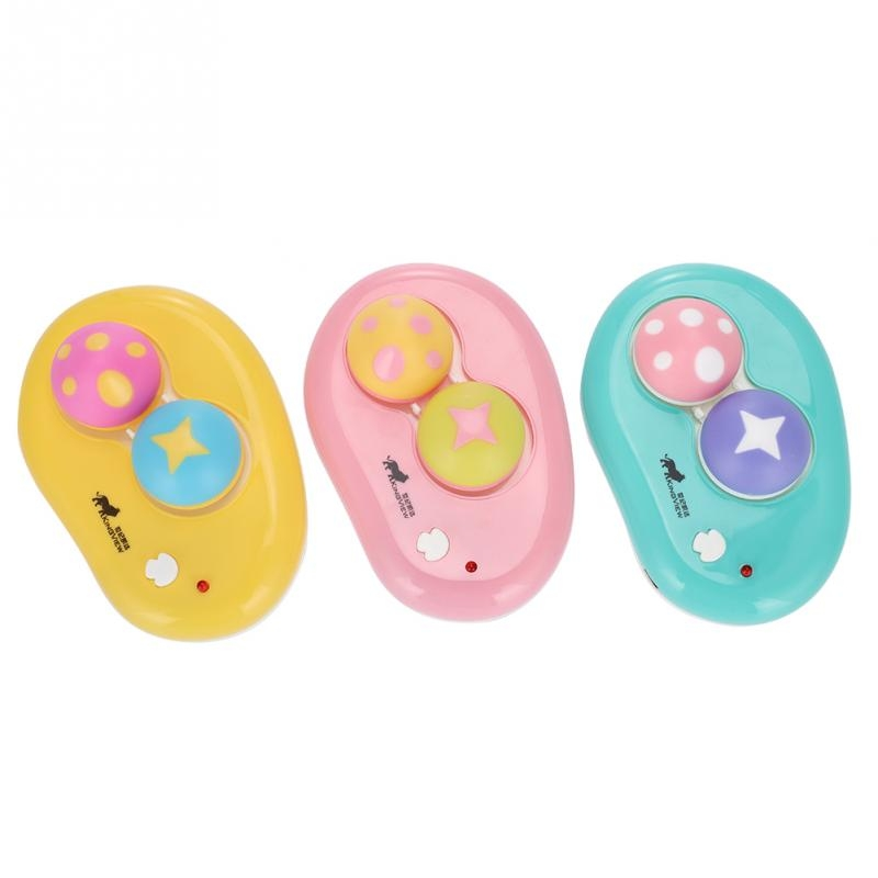Electric Contact Lens Case Ultrasonic Washer Box Cute Mashroom Eyes Care Tools (Yellow)