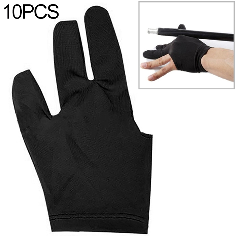 10 PCS Spandex Snooker Billiard Cue Glove Pool Left Hand Open Three Finger Snooker Accessory (Black)