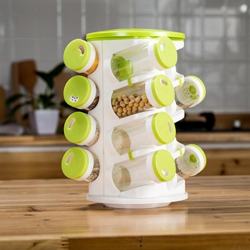 2 Sets 16 in 1 Seasoning Cans Pepper Salt Cruet Plastic Bottle Kitchen Spice Jar Pepper Shaker Box Spice Rack Set