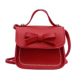 Bowknot PU Leather Mini Baby Girls Casual Messenger Bag Coin Purse Children Small Clutch Bags Simple Shoulder Bag (Red)