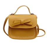Bowknot PU Leather Mini Baby Girls Casual Messenger Bag Coin Purse Children Small Clutch Bags Simple Shoulder Bag (Yellow)