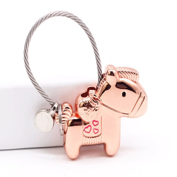 Couple Keychain with Magnet Creative Metal Small Gift Car Bag Pendant (Rose Gold)