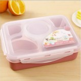 1000ml 5 Cells Healthy Plastic Lunch Box Durable Adults Lady Kid Lunchbox Microwave Lunch Bento Box (Pink)