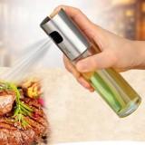 2 PCS Stainless Steel Glass Olive Pump Spray Bottle Oil Sauce Vinegar Bottle Oil Dispenser (Rose Gold)