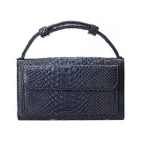 Genuine Leather Women Hand Bag Female Fashion Chain Shoulder Bag Luxury Designer Tote Messenger Bags (Dark Blue)