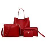 4 in1 Women Leather Handbag+Crossbody Bag+Messenger Bag+Card Package Capacity Crossbody Bag (red)