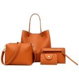 4 in1 Women Leather Handbag+Crossbody Bag+Messenger Bag+Card Package Capacity Crossbody Bag (Brown)