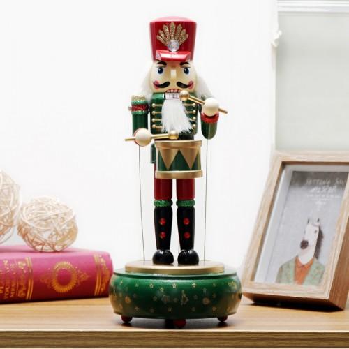Retro Wooden Nutcracker Drummer Music Box for Gift Vintage Home Decoration (Green)