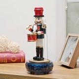Retro Wooden Nutcracker Drummer Music Box for Gift Vintage Home Decoration (Blue)