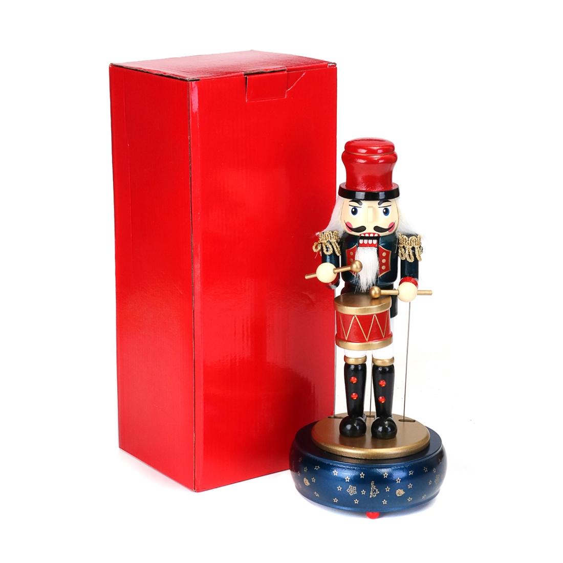 Retro Wooden Nutcracker Drummer Music Box for Gift Vintage Home Decoration (Red)