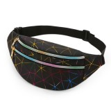 Laser Pattern PU Leather Waist Bags Women Fanny Pack Single Shoulder Bag (Black)
