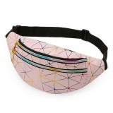 Laser Pattern PU Leather Waist Bags Women Fanny Pack Single Shoulder Bag (Pink)