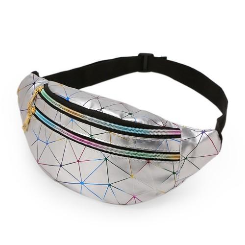 Laser Pattern PU Leather Waist Bags Women Fanny Pack Single Shoulder Bag (Sliver)
