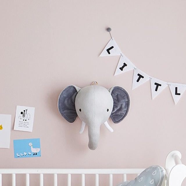 Children Room Wall Stuffed Plush Toy Baby Bedroom Decoration Animal Head Wall Decorate Toy Doll for Kids (Elephant)