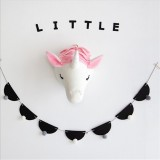 Children Room Wall Stuffed Plush Toy Baby Bedroom Decoration Animal Head Wall Decorate Toy Doll for Kids (Unicorn)