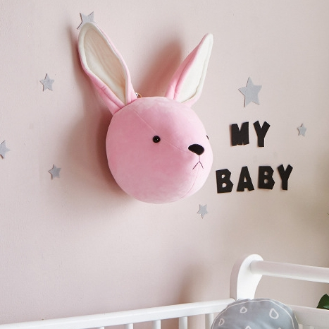 Children Room Wall Stuffed Plush Toy Baby Bedroom Decoration Animal Head Wall Decorate Toy Doll for Kids (Rabbit)
